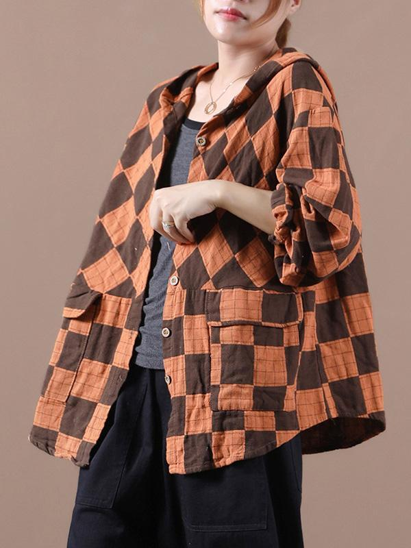 Original Plaid Long Sleeve Hooded Outwear