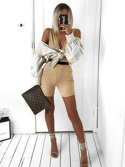 Deep V Neck Wrap Sport Romper