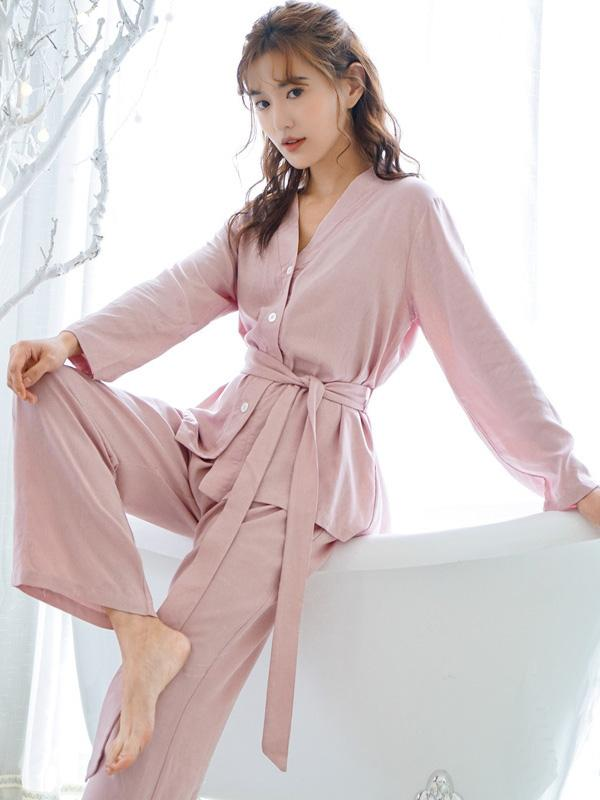 Comfortable V-Neck T-Shirt&Drawstring Pants Pajama Suit