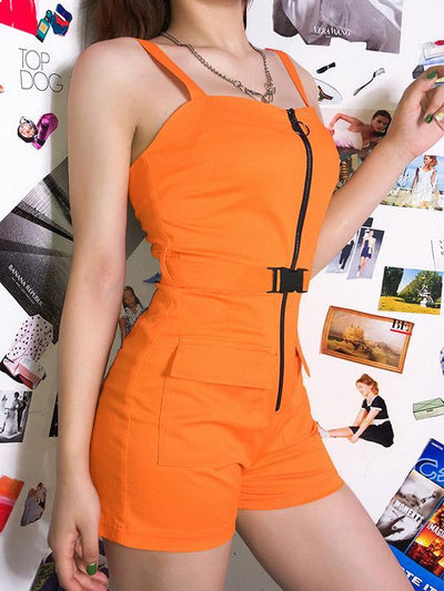 Buckle Zipper Casual Rompers