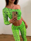 Fluorescent Snakeskin One-Shoulder Tee&Leggings Suits