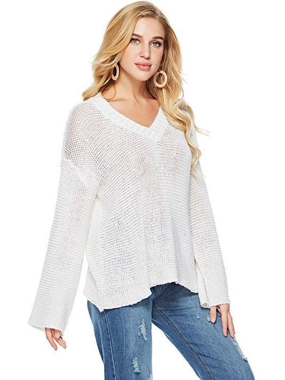 Sexy Long Sleeve  Solid Color V-Neck Sweater Tops