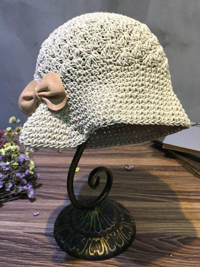 Knitting Bowknot Fresh Hat