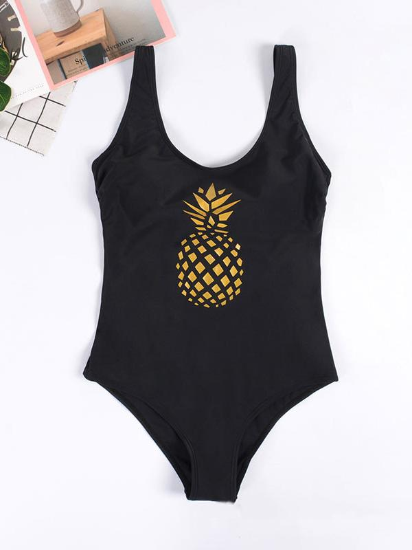 Sexy Backless Pineapple Print One-Piece Swimwear
