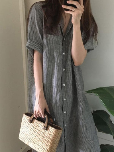 Chic Loose Striped Blouse Dress