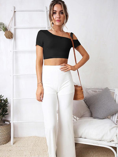 Slanted Collar Off-shoulder Short Sleeve T-shirt