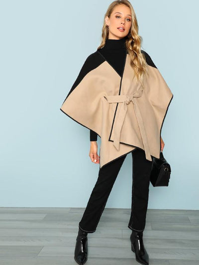 Split-joint Belted Woolen Batwing Outwear