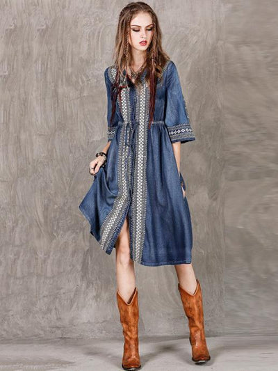 Vintage Oversize Embroidery Denim Dress