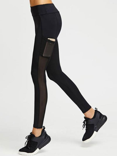 Hollow Pocket-with Split-joint Sports Yoga Leggings