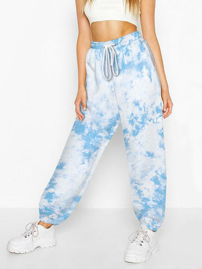 Casual Tie-Dyed Loose Drawstring Pants