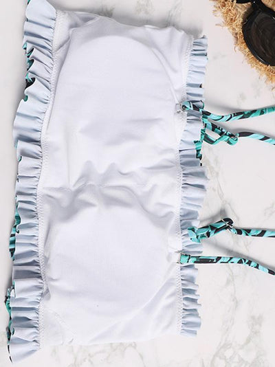 Smocked Printed Bikini Swimsuit