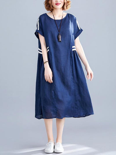 Loose Blue Split-joint Dress