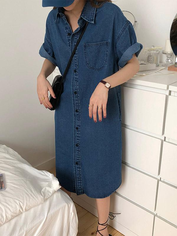 Original Denim Lapel Shirt Dress