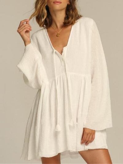Plus Size Loose Solid Fresh Cover-ups Swimwear