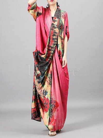 Casual Split-joint Silk Long Dress