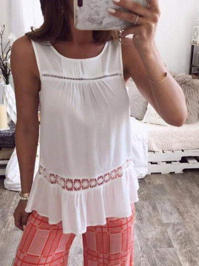 Fashion Hollow Sleeveless Vests Tops