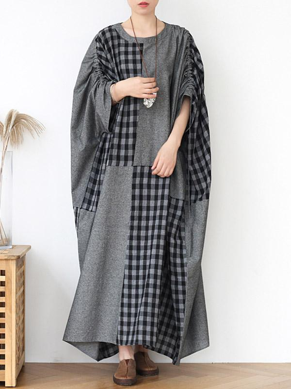 Loose Plus Size Deep Gray Plaid Split-Joint Long Dress