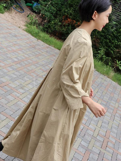 Loose A-line Long Shirt Dress