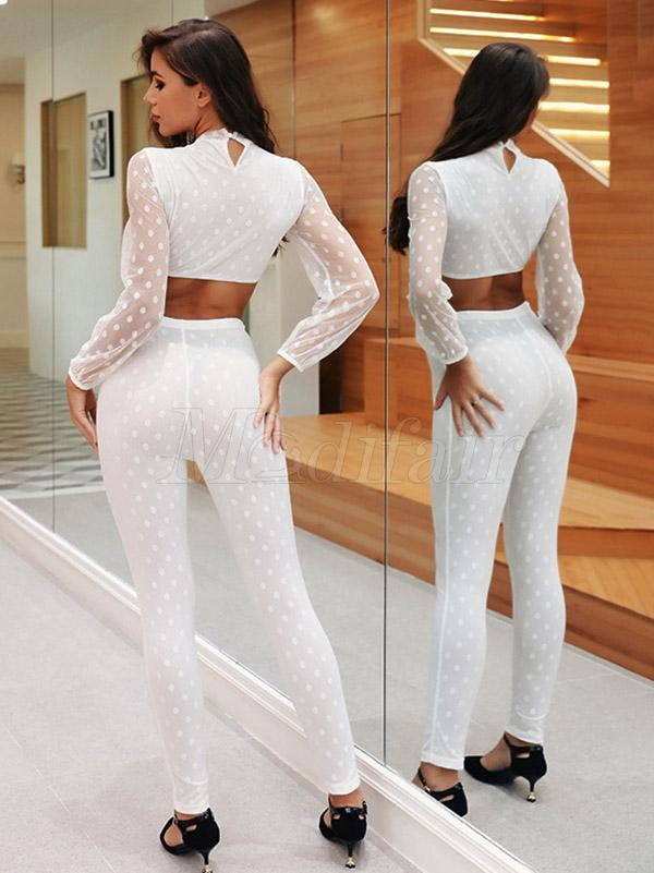 Polka-dot Gauze Split-joint Tee&Leggings Sports Suits
