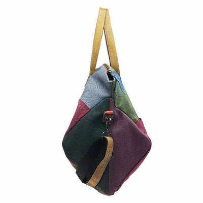 Genuine Leather Cowhide Retro Handmade Stitching Bag