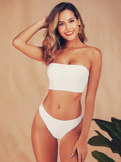 Bandeau Plain White Bikini Swimsuit