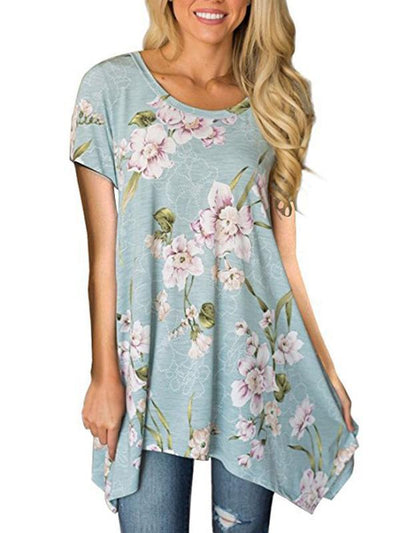 Printed Short-sleeved irregular T-shirt