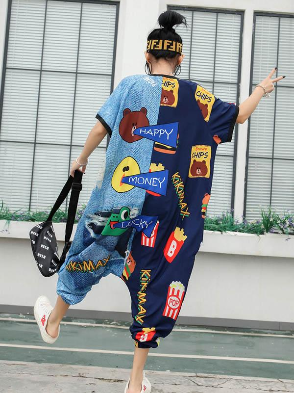 Street Casual Printed Jumpsuits