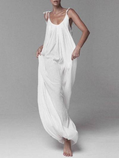 Super Loose White Lace-up Jumpsuits