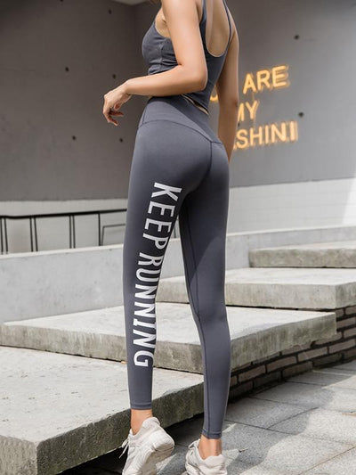 Wrap High-Waisted Printed Letters Sports Leggings