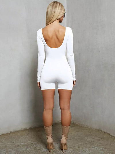 Long Sleeve Solid Skinny Romper
