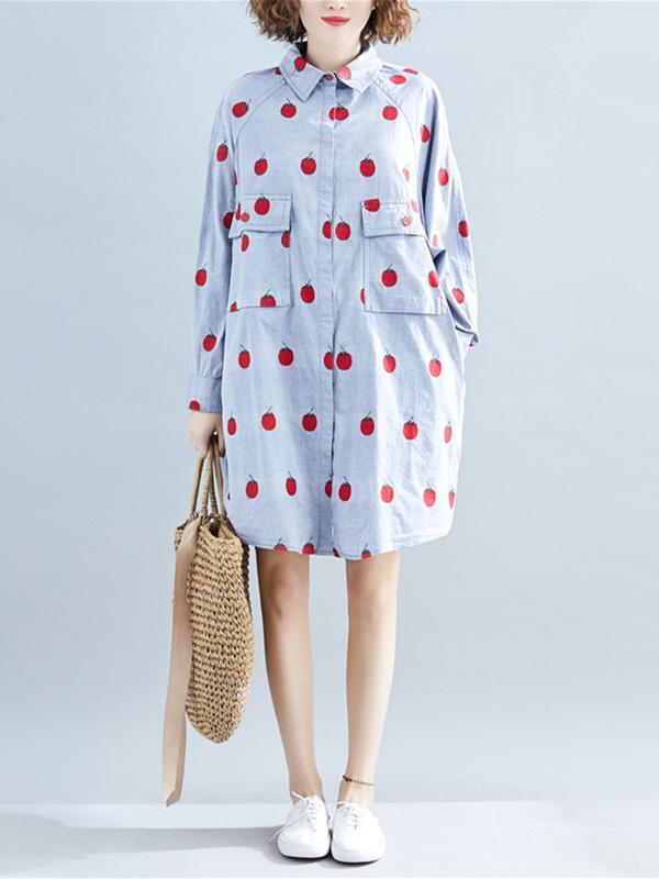 Loose Oversize Printed Lapel Blouse Dress