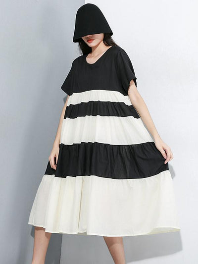 Split-joint Striped Ruffled Dress