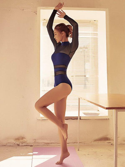 Mesh Split-joint Hollow Dance Bodysuits