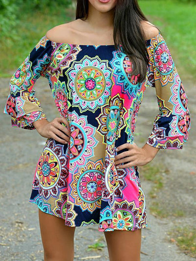 Pretty Sexy Floral-Print Long Sleeve Off-Shoulder Round Neck Mini Dress