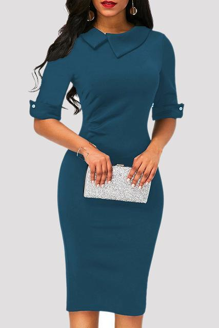 Women Formal Dress Elegant Autumn in Buisness Retro Style, 4 Colors