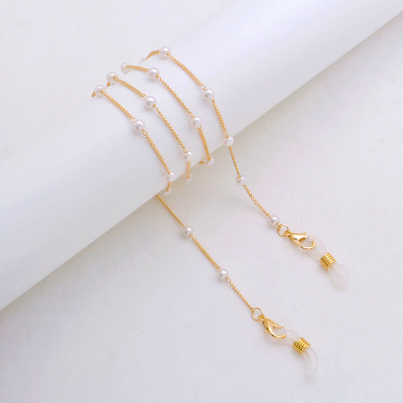 2pcs Face Mask Lanyard Handy Fashion Pearl Ear Holder Rope