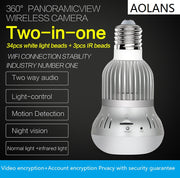 360 Degree Panoramic 1080P Security WiFi Bulb Camera