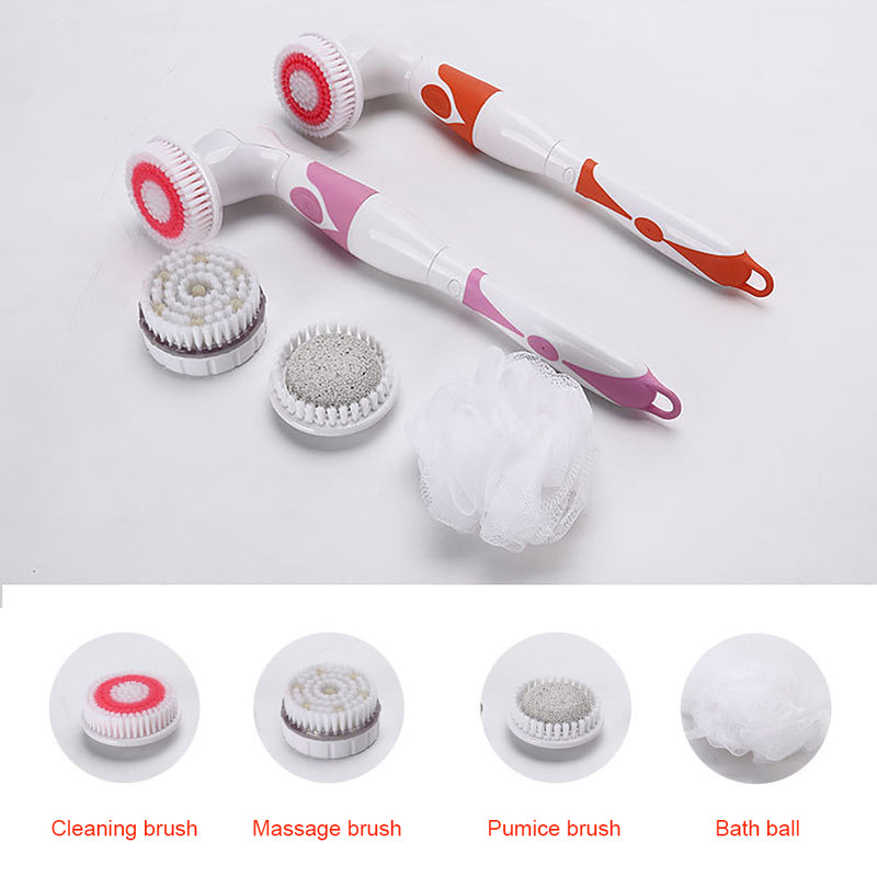 4-In-1 Long Handle Waterproof Electric Bath Brush