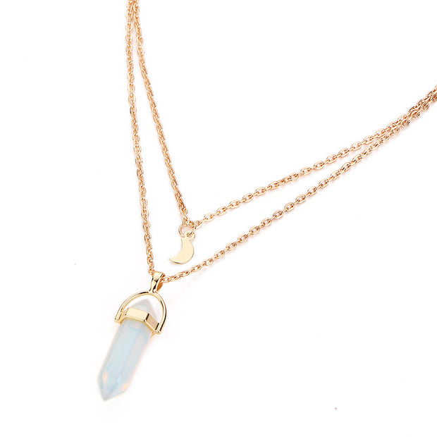 Celebrity style hexagonal column fashion double-layer pendant necklace