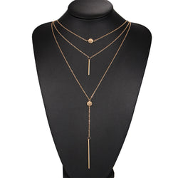 Dot line vertical multi-layer clavicle necklace