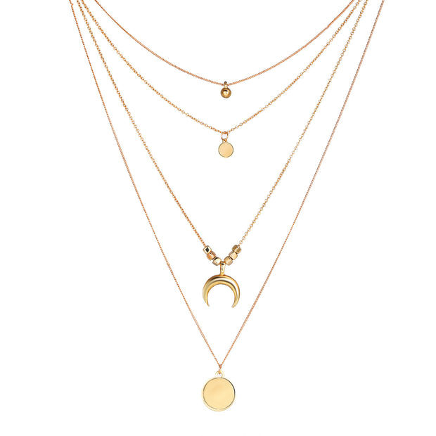 Fashionable Multi-layer Moon Disc Pendant Necklace