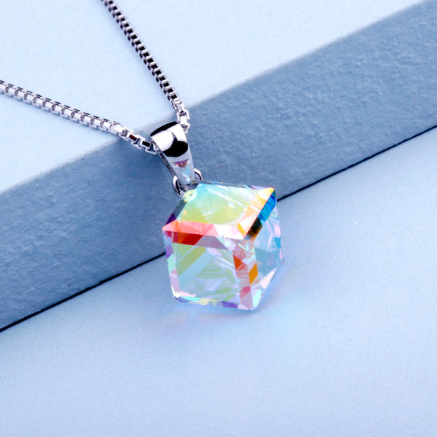 Light Cube Pendant Necklace