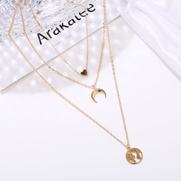 Love Crescent Map Pendant Multi-layer Necklace