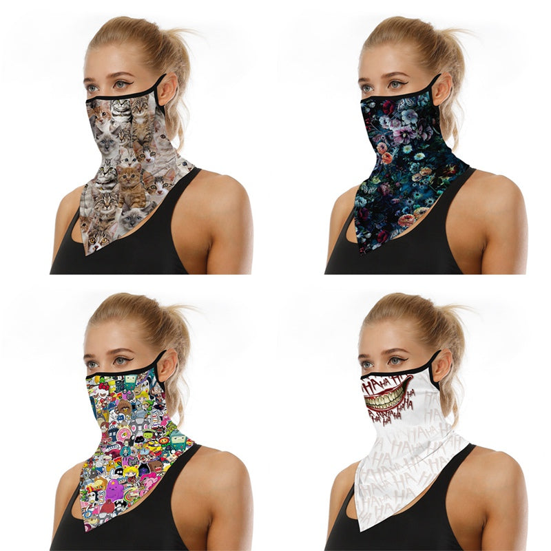 Multifunctional ear-hanging mask outdoor riding triangle scarf