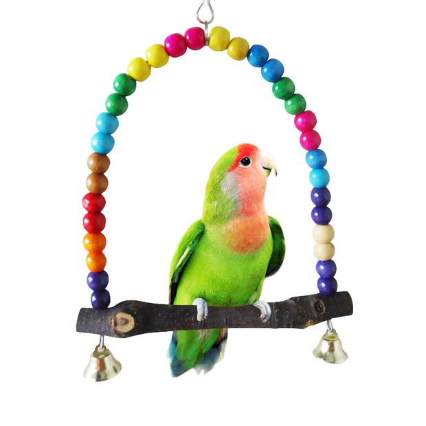 Natural Wooden Parrots Swing Toy