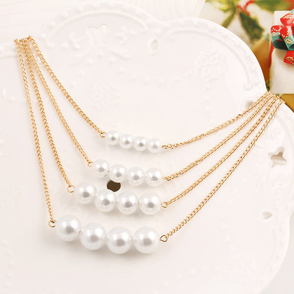 Pearl temperament clavicle necklace