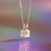 S925 Silver Cube Aurora Bright Crystal Necklace