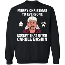 Load image into Gallery viewer, Tiger King Joe Exotic Merry Christmas to everyone Christmas sweatshirt