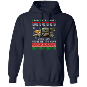 Baby Yoda Christmas ugly sweater cute - TheTrendyTee