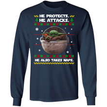 Load image into Gallery viewer, Baby Yoda he protects he also takes naps Christmas sweater